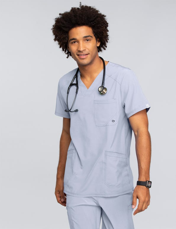 Men's V-Neck Solid Scrub Top