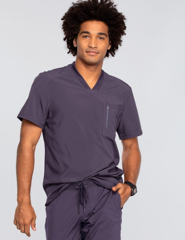 Men's V-Neck Knit Panel Solid Scrub Top
